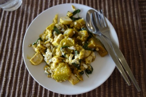 Pumpkin and egg stir-fry from Chiang Mai